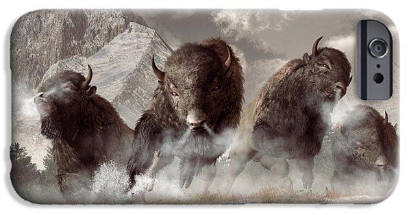 Bison Art iPhone Cases - Buffalo iPhone Case by Daniel Eskridge