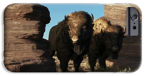 Bison Art iPhone Cases - Buffalo Guard iPhone Case by Daniel Eskridge