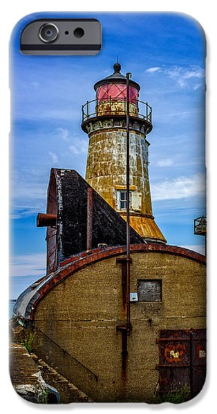 Rust iPhone Cases - Buffalo Harbor South Entrance Light No1 iPhone Case by Chris Bordeleau