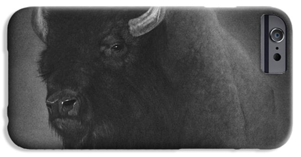 Animal Drawings iPhone Cases - Buffalo iPhone Case by Tim Dangaran