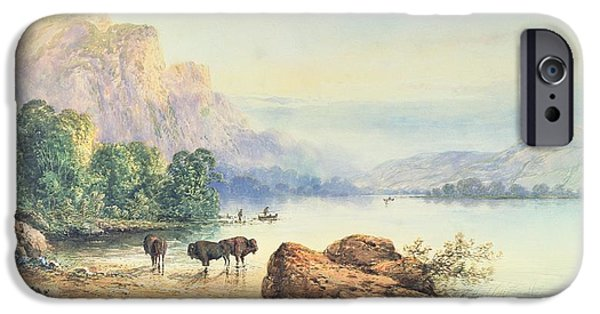 Animals iPhone Cases - Buffalo Watering iPhone Case by Thomas Moran
