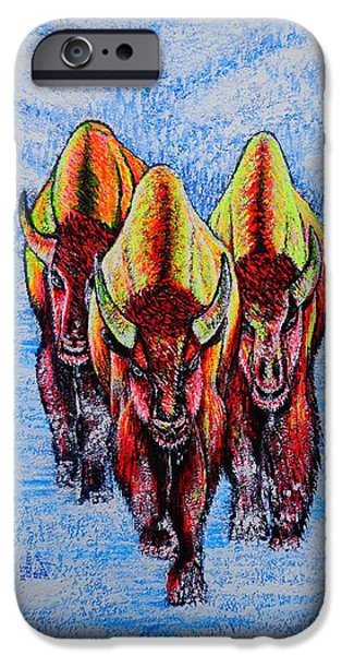 Snow iPhone Cases - Buffalos iPhone Case by Viktor Lazarev