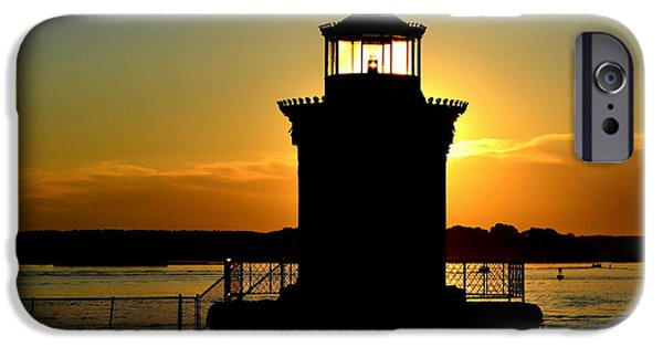 Maine iPhone Cases - Bug Light Silhouette iPhone Case by Colleen Phaedra
