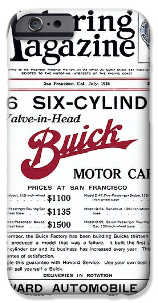 Old Cars iPhone Cases - Buick Motor Cars Advertisement 1915 iPhone Case by Motoring Magazine