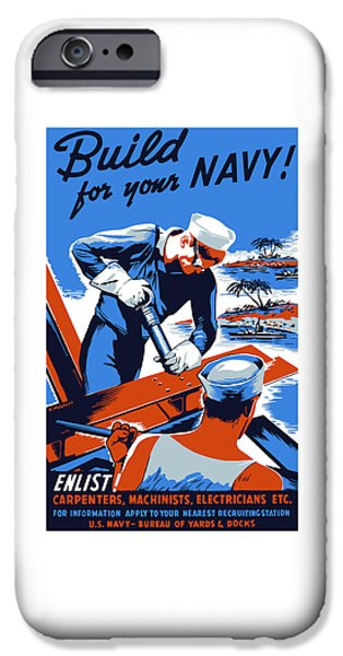 Vet iPhone Cases - Build For Your Navy - WW2 iPhone Case by War Is Hell Store