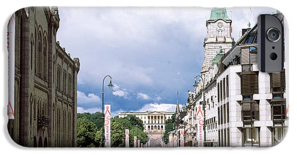 Oslo iPhone Cases - Buildings Along A Street With Royal iPhone Case by Panoramic Images