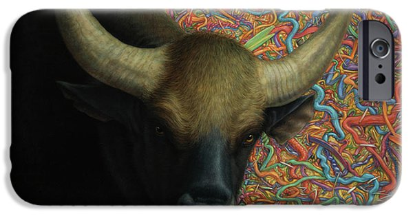 Farm iPhone Cases - Bull in a Plastic Shop iPhone Case by James W Johnson