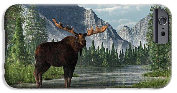 Bull Moose iPhone Cases - Bull Moose iPhone Case by Daniel Eskridge
