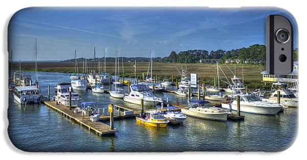 Sailboats iPhone Cases - Bull River Marina Tybee Island Savannah GA iPhone Case by Reid Callaway