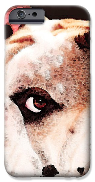 Bulldog Art - Let's Play iPhone Case by Sharon Cummings
