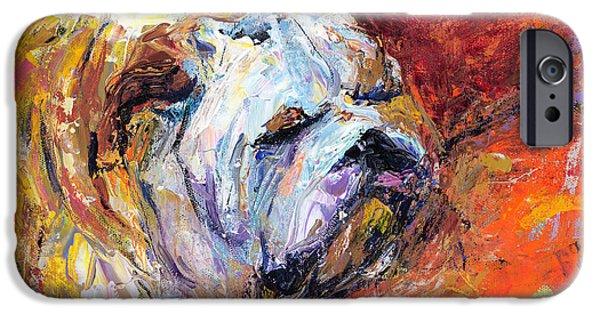 Bulldog iPhone Cases - Bulldog Portrait painting impasto iPhone Case by Svetlana Novikova