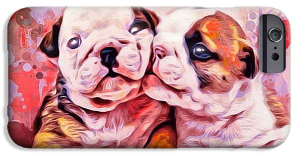 Lips iPhone Cases - Bulldog Puppy Love iPhone Case by Scott Wallace