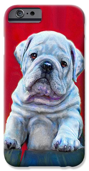 Puppies Digital Art iPhone Cases - Bulldog Puppy On Red iPhone Case by Jane Schnetlage