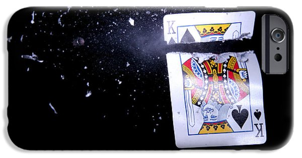 High Speed Photography iPhone Cases - Bullet Hitting A Playing Card iPhone Case by Ted Kinsman