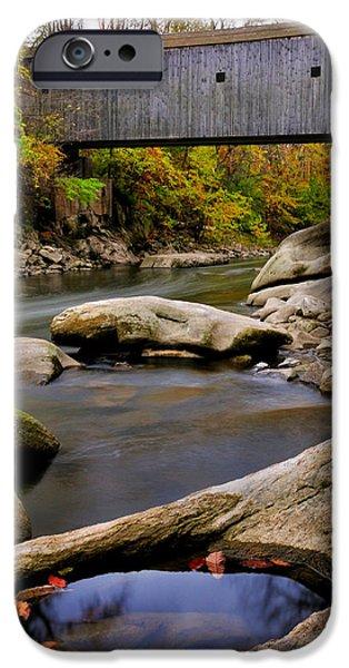 Kent Connecticut iPhone Cases - Bulls Bridge - Autumn scene iPhone Case by Thomas Schoeller