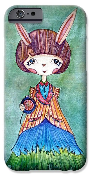 Alice In Wonderland iPhone Cases - Bunny girl in wonderland iPhone Case by Venie Tee