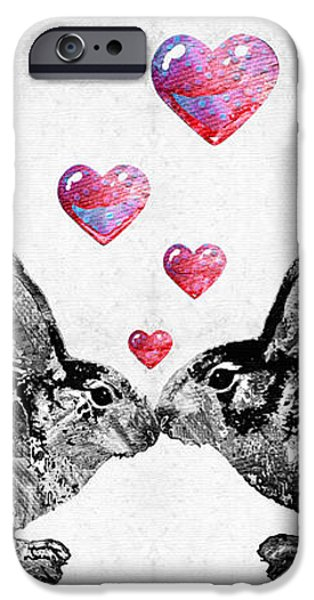 Rabbit iPhone Cases - Bunny Rabbit Art - Hopped Up On Love 2 - By Sharon Cummings iPhone Case by Sharon Cummings