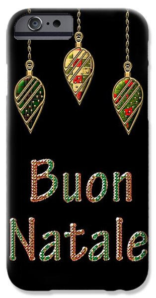 Jesus Drawings iPhone Cases - Buon Natale Italian Merry Christmas iPhone Case by Movie Poster Prints