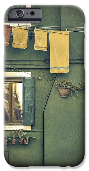 Green iPhone Cases - Burano - green house iPhone Case by Joana Kruse