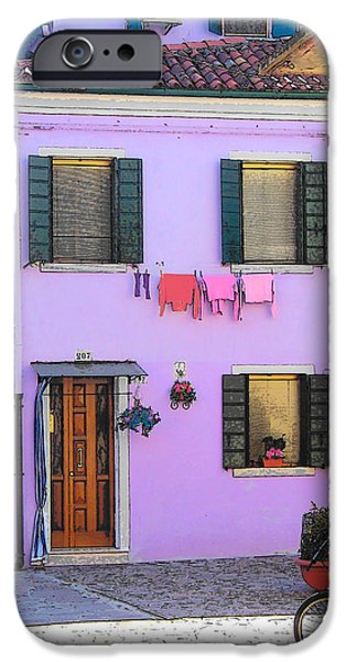 Domestic Scene iPhone Cases - Burano Italy - The purple house iPhone Case by Jan Matson