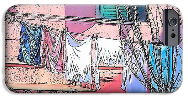 Domestic Scene iPhone Cases - Burano Washing Day iPhone Case by Jan Matson
