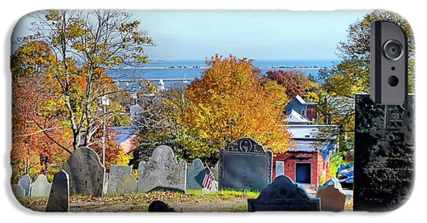 Headstones iPhone Cases - Burial Hill during Autumn iPhone Case by Janice Drew