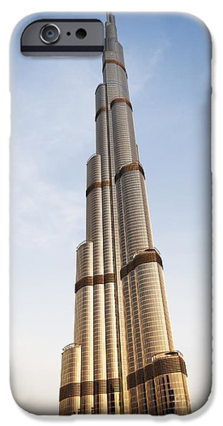 East Pyrography iPhone Cases - Burj Khalifa in Dubai iPhone Case by Jelena Jovanovic