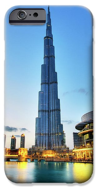 Fountain iPhone Cases - Burj Khalifa Sunset iPhone Case by Shawn Everhart