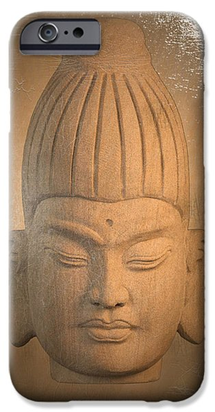 Buddhist Sculptures iPhone Cases - Burmese Antique Oil Paint Effect iPhone Case by Terrell Kaucher