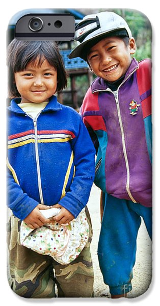 Nike Photographs iPhone Cases - Burmese Brother & Sister iPhone Case by Inga Spence