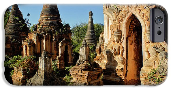 Historic Ruins iPhone Cases - Burmese Pagodas in Ruins iPhone Case by Michele Burgess