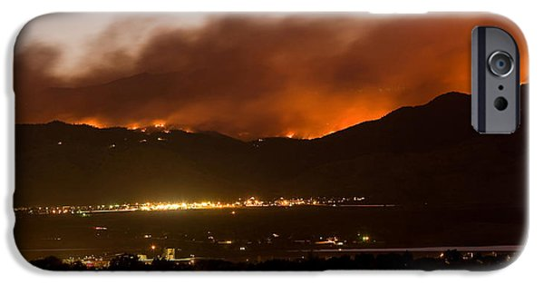 Wildfire iPhone Cases - Burning Foothills Above Boulder Fourmile Wildfire Panorama Poster iPhone Case by James BO  Insogna