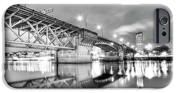 Waterfront Photographs iPhone Cases - Burnside Bridge Portland Oregon at Night iPhone Case by Dustin K Ryan
