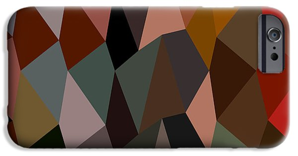 Burnt Umber iPhone Cases - Burnt Umber Abstract Low Polygon Background iPhone Case by Aloysius Patrimonio