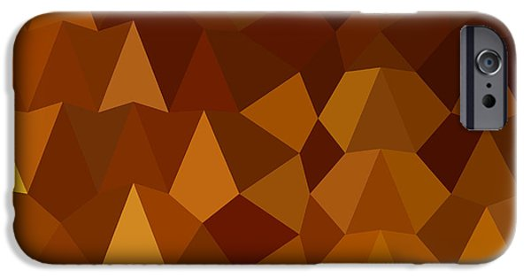Burnt Umber iPhone Cases - Burnt Umber Brown Abstract Low Polygon Background iPhone Case by Aloysius Patrimonio