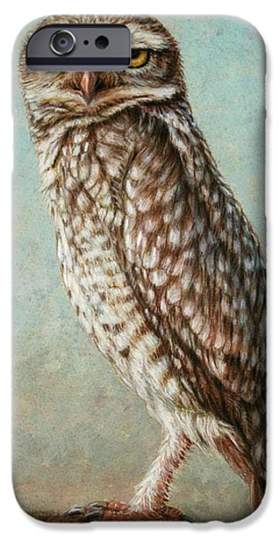 Animals Drawings iPhone Cases - Burrowing Owl iPhone Case by James W Johnson