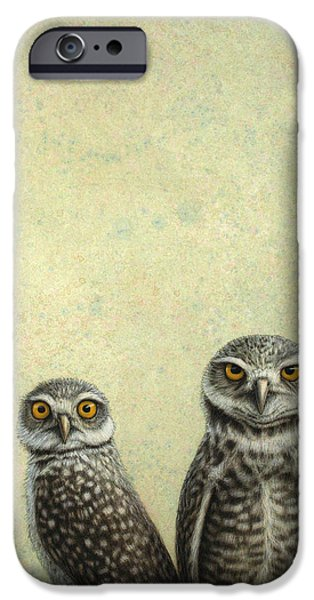 Prairie iPhone Cases - Burrowing Owls iPhone Case by James W Johnson