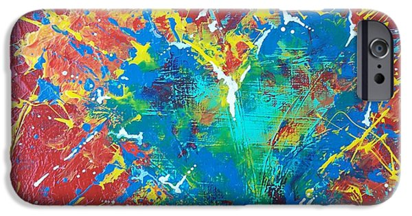 Blue Abstracts iPhone Cases - Burst of Love #1 iPhone Case by Renate Dubose