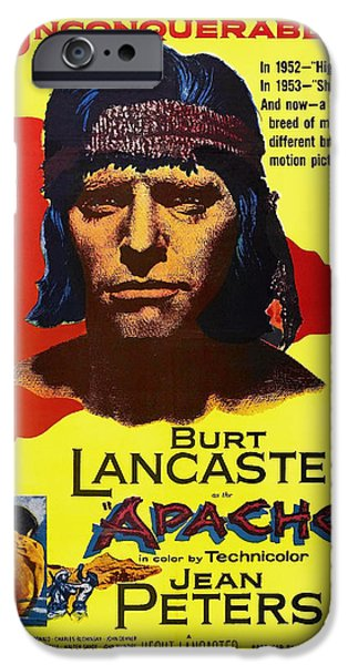 1950s Movies iPhone Cases - Burt Lancaster as the Apache 1954 iPhone Case by Mountain Dreams
