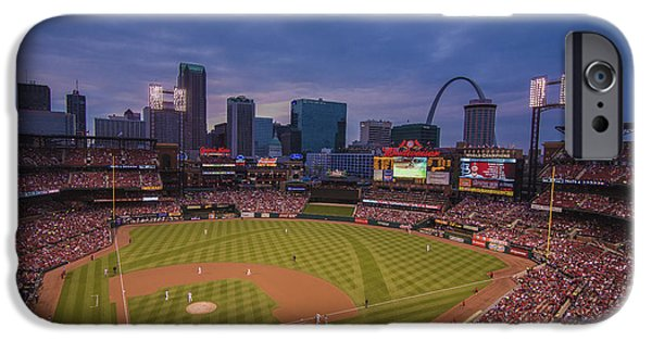 Recently Sold -  - Nation iPhone Cases - Busch Stadium St. Louis Cardinals Ball Park Village Twilight #3c iPhone Case by David Haskett