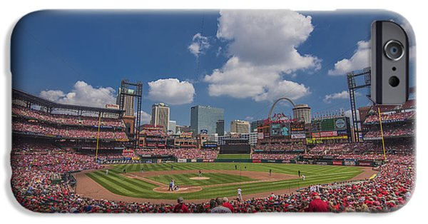 Baseball Stadiums iPhone Cases - Busch Stadium St. Louis Cardinals BallPark Village Cardinal Nation Low #2c iPhone Case by David Haskett