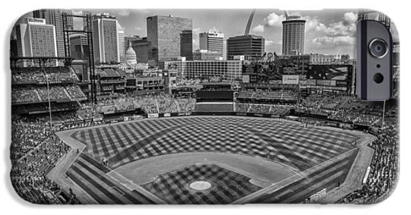 Recently Sold -  - Nation iPhone Cases - Busch Stadium St. Louis Cardinals Black White BallPark Village iPhone Case by David Haskett