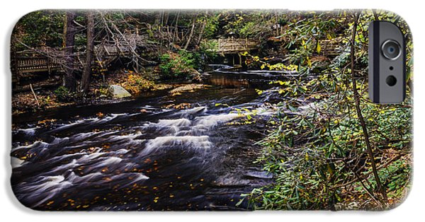 Overcast Day iPhone Cases - Bushkill Falls State Park Autumn Pennsylvania USA iPhone Case by Vishwanath Bhat