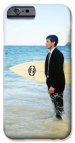 Business man at the beach with surfboard iPhone Case by Brandon Tabiolo - Printscapes