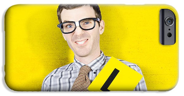 Personal-development iPhone Cases - Business man starting first day with L plates iPhone Case by Ryan Jorgensen