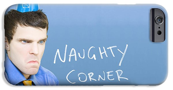 Analyzing iPhone Cases - Businessman In Trouble Sitting In Naughty Corner iPhone Case by Ryan Jorgensen