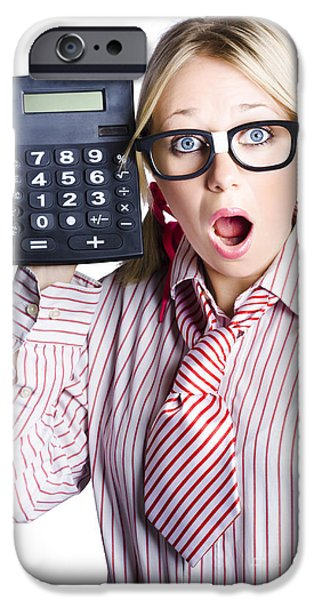Youthful iPhone Cases - Businesswoman with calculator iPhone Case by Ryan Jorgensen