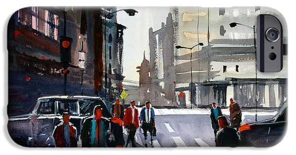 Chicago Paintings iPhone Cases - Busy City - Chicago iPhone Case by Ryan Radke