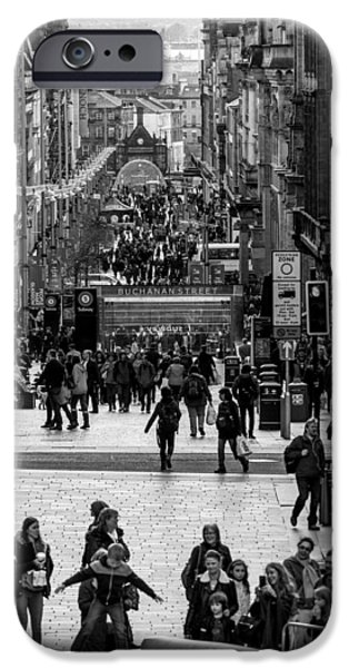 Business Photographs iPhone Cases - Busy day in Glasgow iPhone Case by Sotiris Filippou