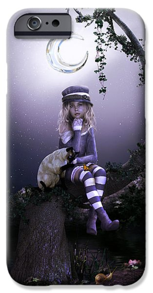 Little Girl Digital Art iPhone Cases - Busy Doing Nothing iPhone Case by Shanina Conway
